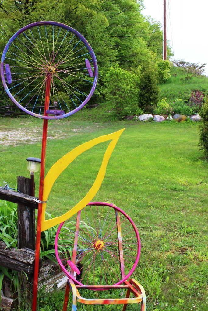 Junk Yard Art Bike Tire Rims Made Into A Flower
