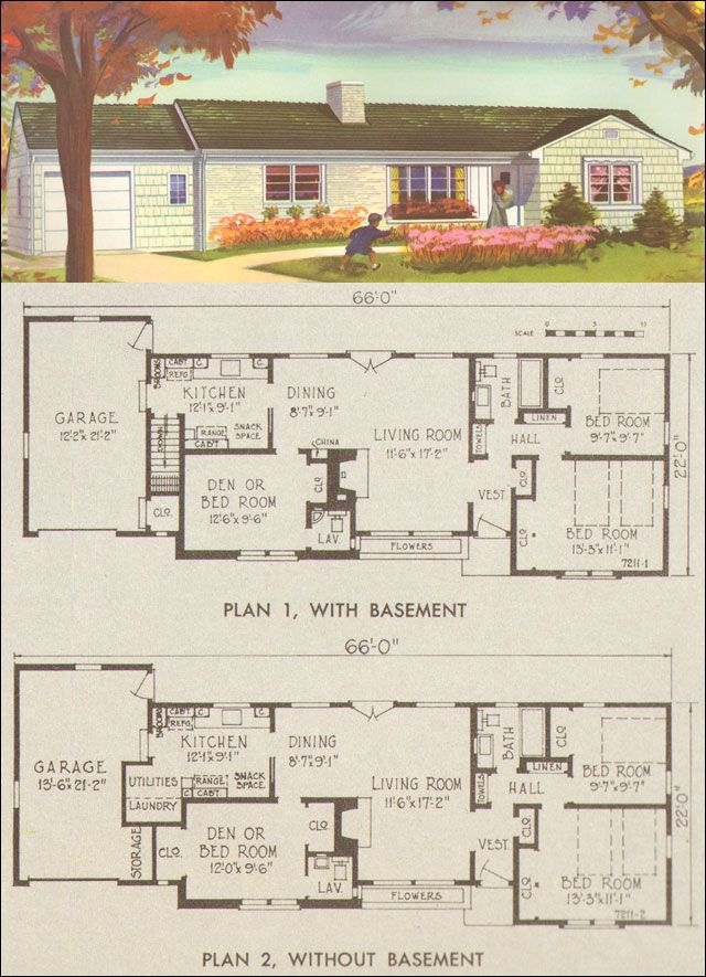 1954 Ranch Style House Plans National Plan Service Plan 7211 Retro Residential Architecture Ranch House Plans House Plans Vintage House Plans