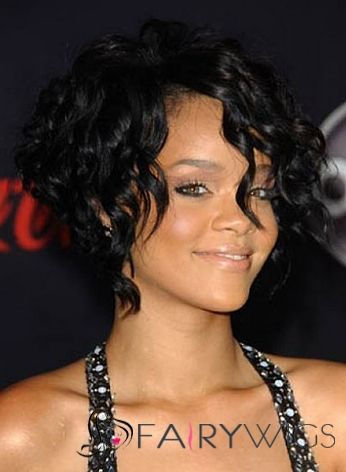 100% Human Hair Black Short Wavy Full Lace Wigs for Black Women