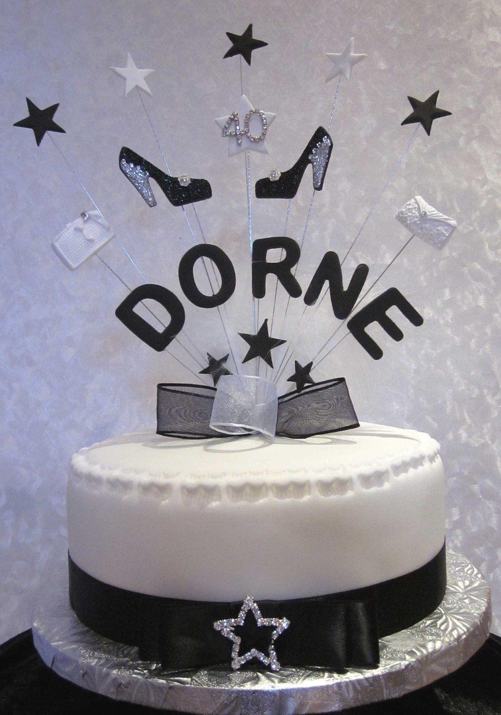 Personalised handbag and shoes birthday cake topper black white