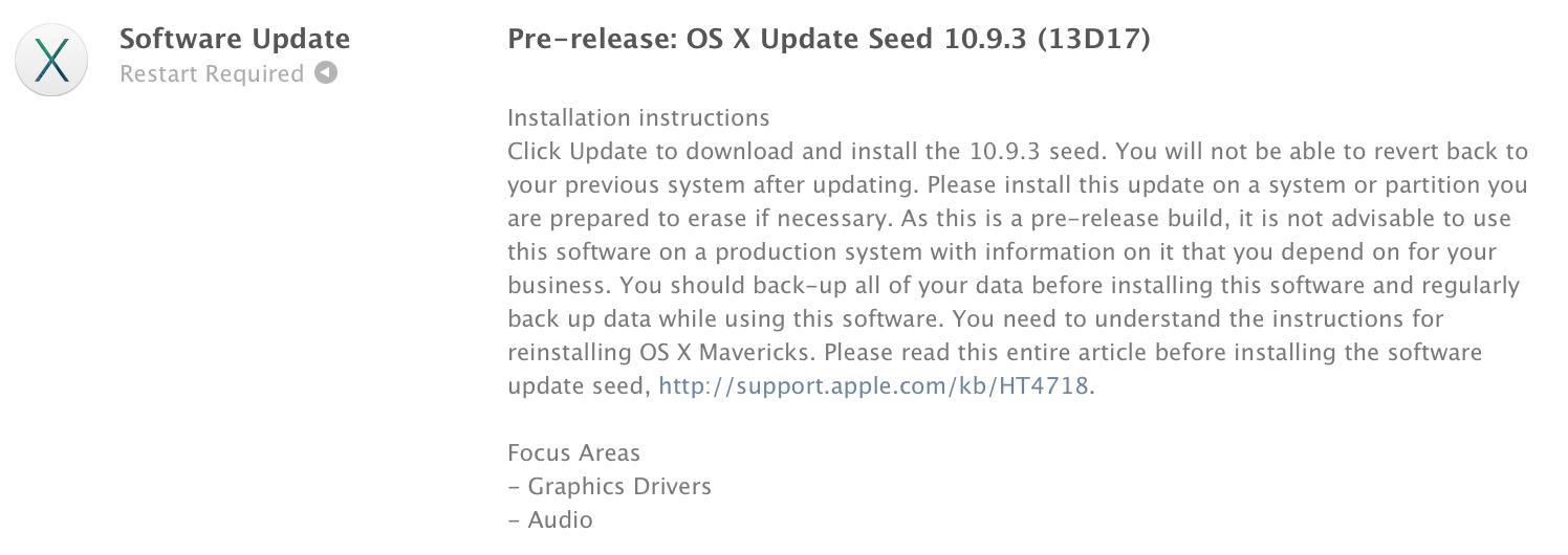 Apple lanseaza OS X Mavericks 10.9.3 beta build 13D17