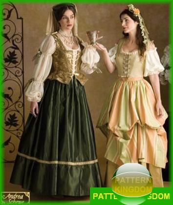 01ae373bf68cf Simplicity 3809 Medieval Renaissance Noble Peasant Dress Patterns ...
