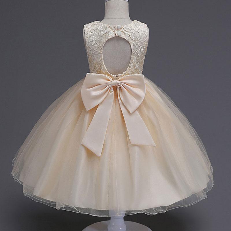 Baby Girls Lace Pelegant Ball Gown Kids Princess Wedding Party Formal Dress  Bow Vestidos Costume Children Elegant Summer Clothes. 946d9a726b15