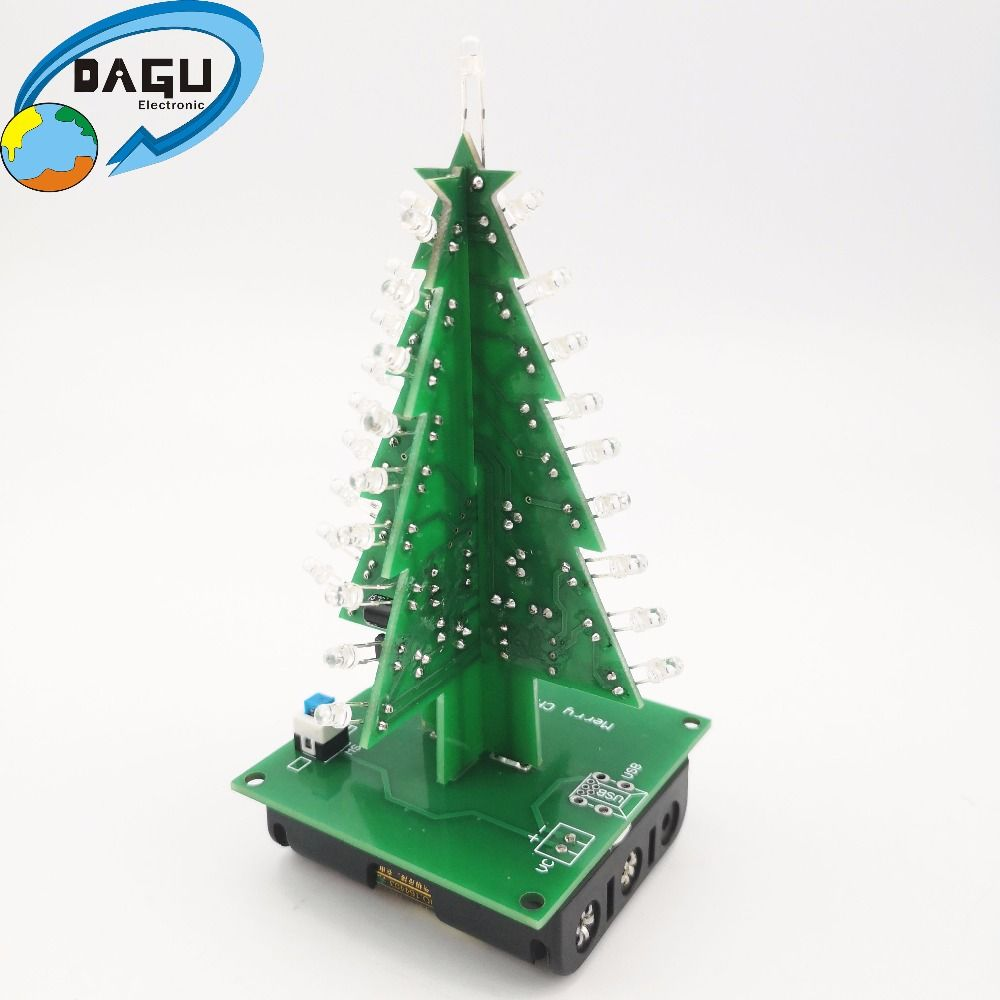 Three Dimensional 3d Christmas Tree Diy Electronic Tree Led Diy Kit Red Gree Yelow Flash Circuit Welding Practice Maker Spa Diy Christmas Tree Led Diy Diy Kits