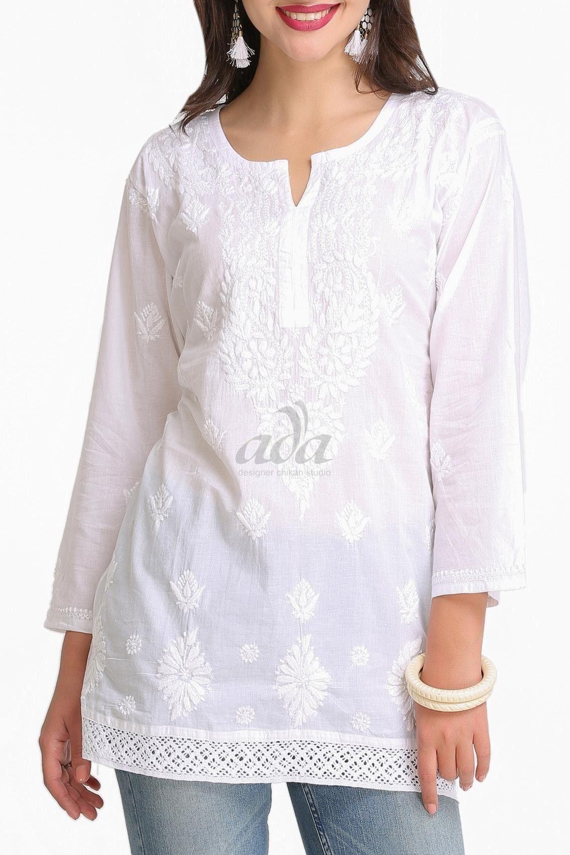 c3272044dd Ada Hand Embroidered White Cotton Lucknow Chikankari Top- A208704 Price  Rs.790.00 #Ada_Chikan #chikankari online store #white lakhnavi kurti online  #buy ...