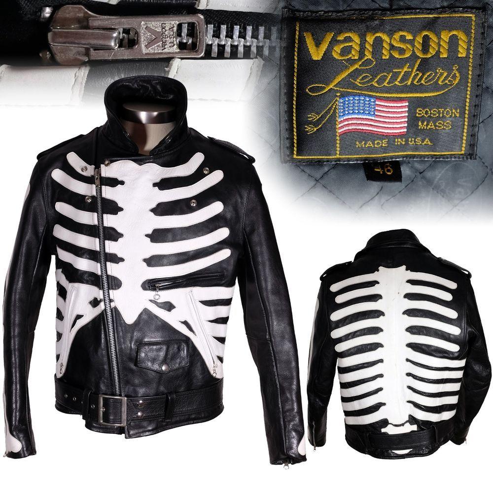Leather motorcycle skeleton gloves - Vanson Bones Skeleton X Ray Leather Motorcycle Jacket Biker 46