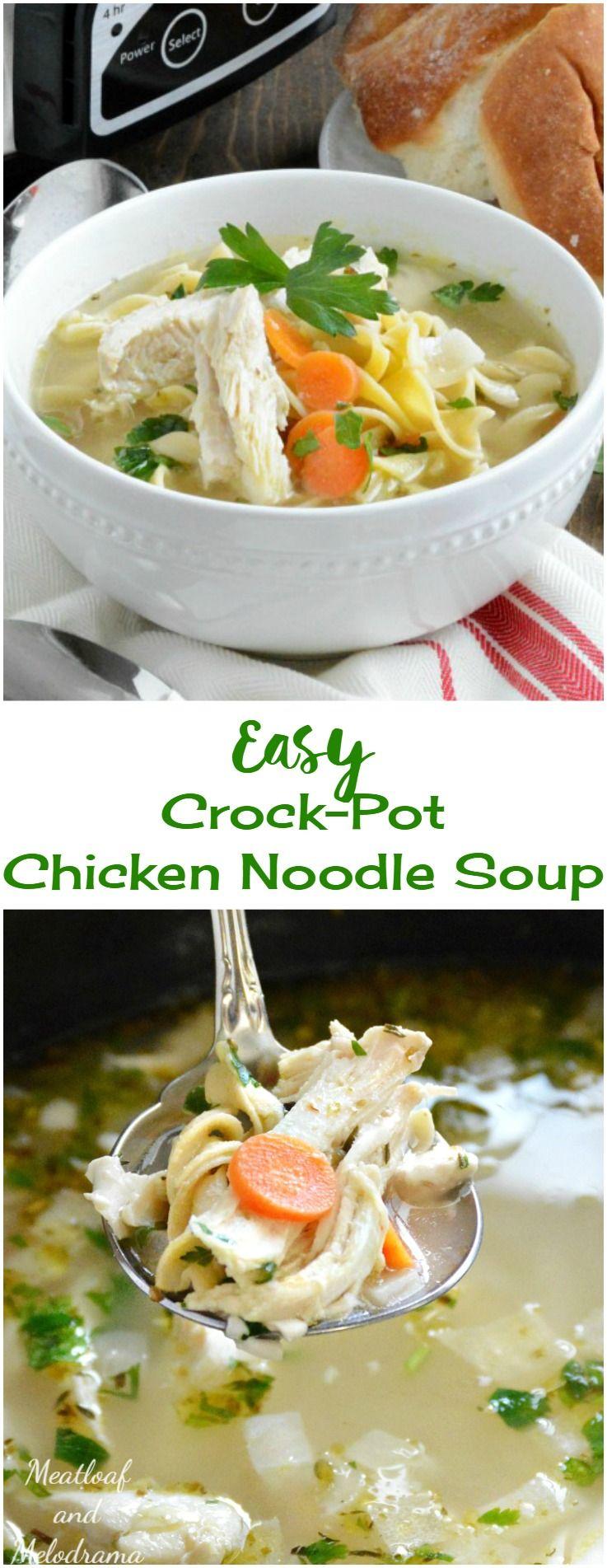 easy crockpot chicken noodle soup  recipe  slow cooker