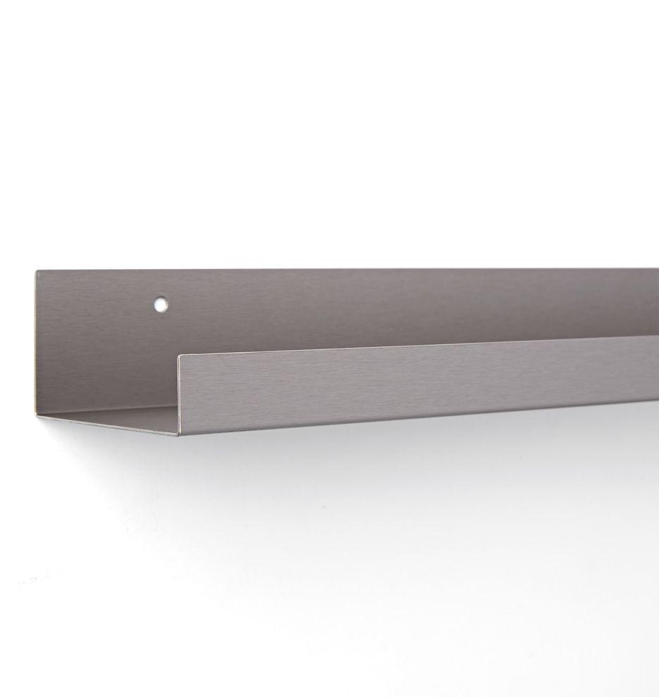 Metal Ledge Shelving Brushed Nickel 2ft Length E3917 By Rejuvenation Metal Display Shelves Floor Renovation