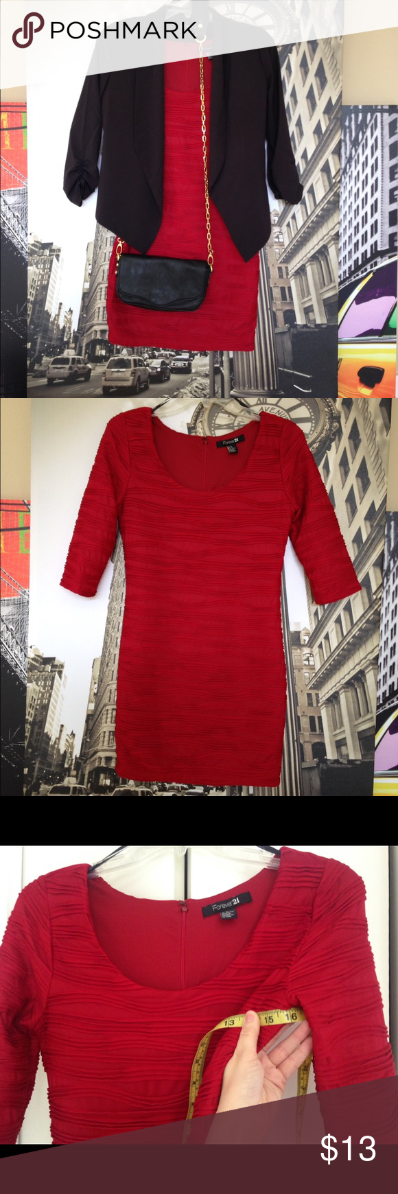 Forever 21 dress size medium sexy red mini small Forever 21 size medium (runs small) super sexy hot red mini dress. Nice raised texture! Zips in back. Jacket and purse not included.       Length: 32 inches Bust: 16 inches.              Great condition! May have been worn once. Forever 21 Dresses Mini