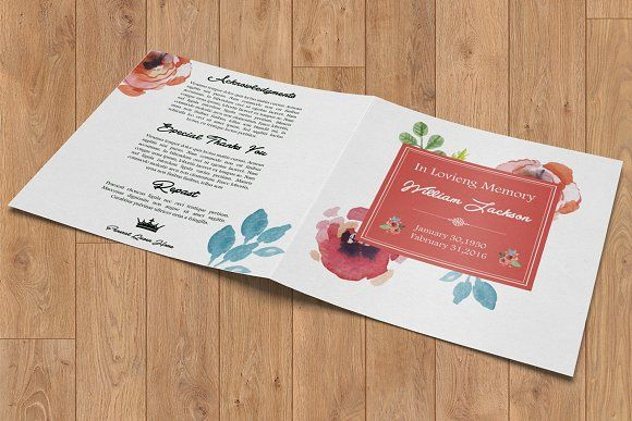 Square Funeral Program Template-V392 by Template Shop on - funeral programs examples