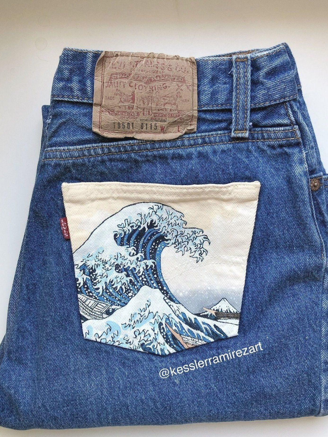 The Great Wave painted jeans by Kessler Ramirez Art- Custom order of The Great Wave Off Kanagawa by Hokusai painted on vintage Levi   s by Kessler   painted jeans  painted denim  painted fabric  denim art  denim painting  pocket painting  jeans pocket  jeans painting Best Picture For  fabric painting sunflower  For Your Taste You are looking for something  and it is going to tell you exactly what you are looking for  and you didn   t find that picture  Here you will find the most beautiful pictu