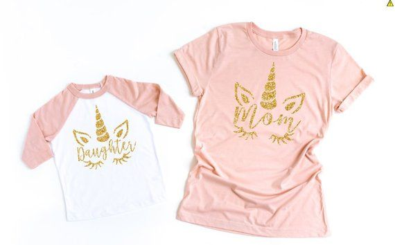 1afc203365 Mommy and Me Outfits - Matching Mother Daughter - Mother Daughter Outfits - Unicorn  Tees - Unicorn T