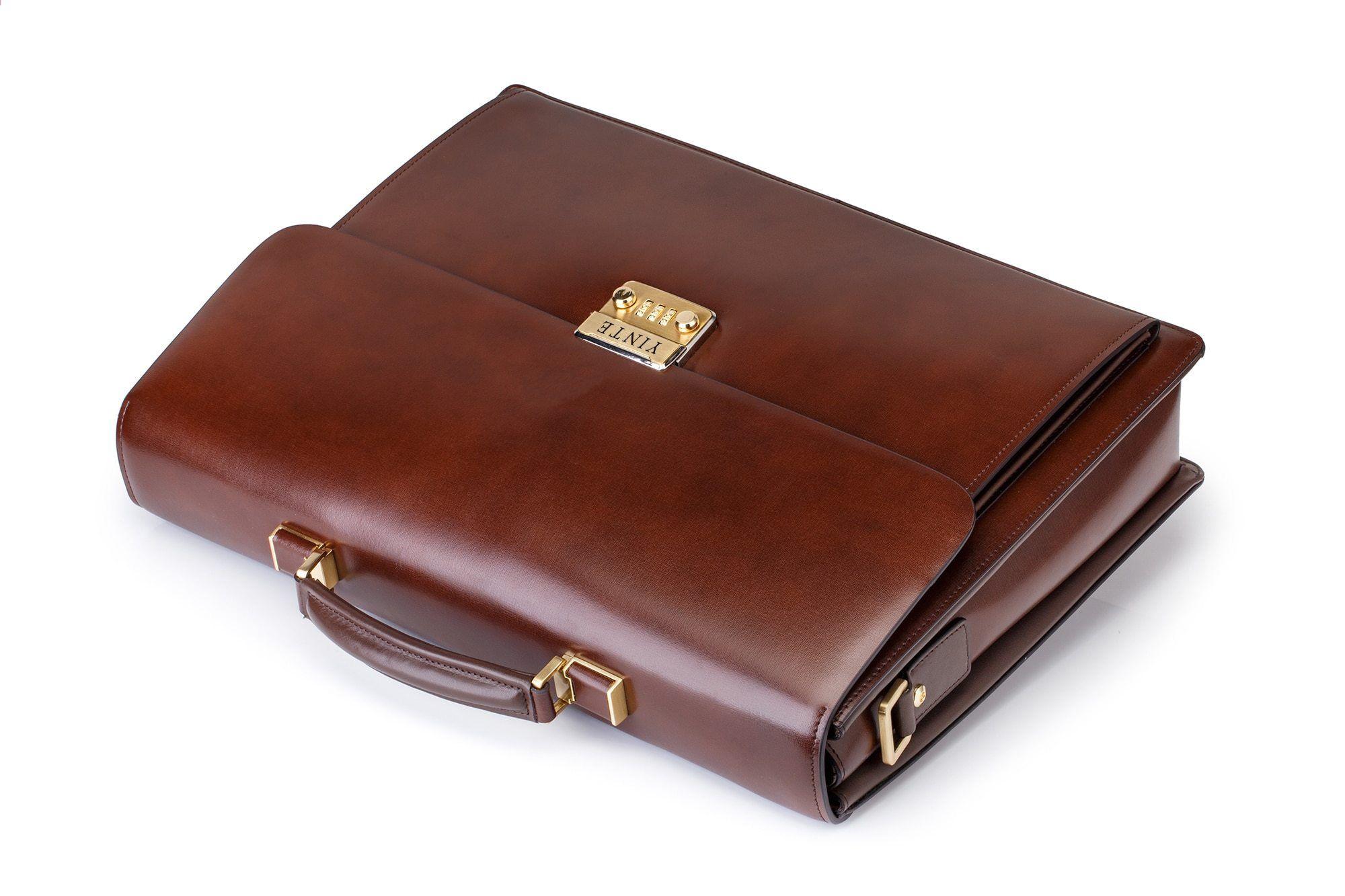 Högkvalitativ känd märke Mäns portfölj äkta läder bärbar dator väska  advokat handväska dokument kontorsmäns portfölj brun väska 14ae85abf6f69
