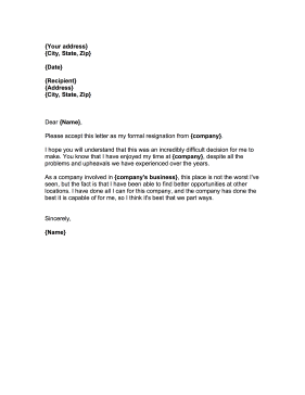 Use This Printable Resignation Letter When You Want To Leave A Job
