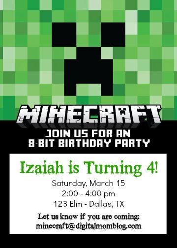 Free Minecraft Birthday Invitations Minecraft birthday invitations