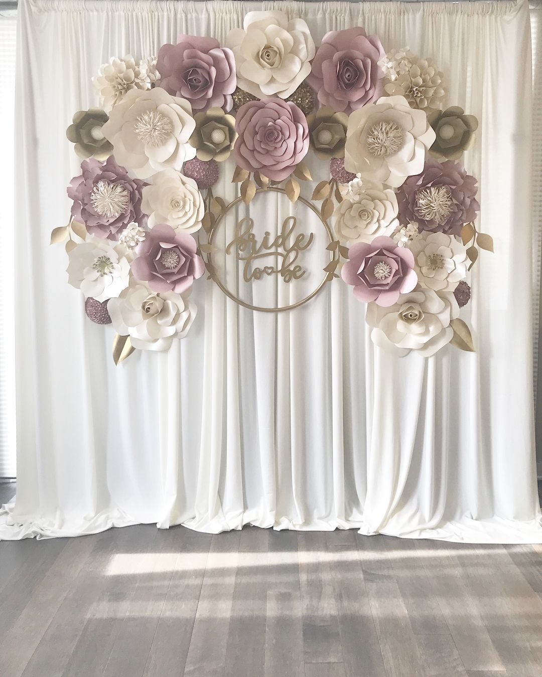 Paper Flowers For Weddings: Mauve/dusty Rose Paper Flower Backdrop. Engagement, Baby