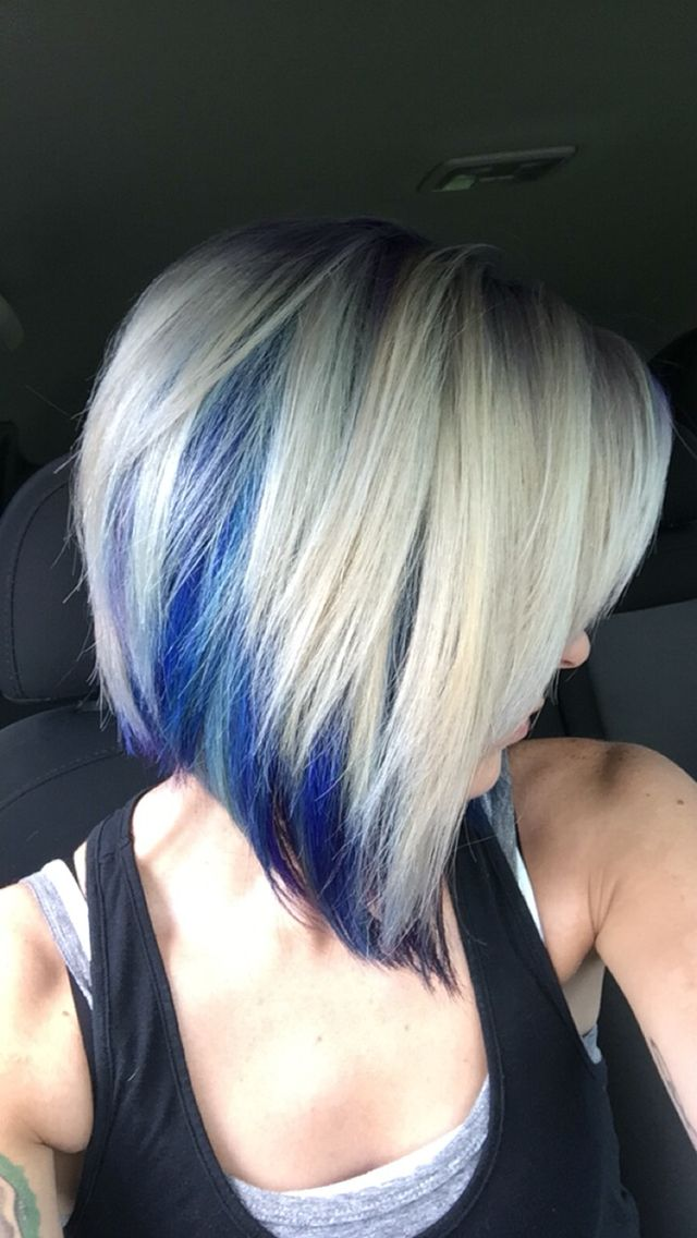 Blonde With Blue Purple And Teal Hair Blonde And Blue Hair Hair Highlights Teal Hair