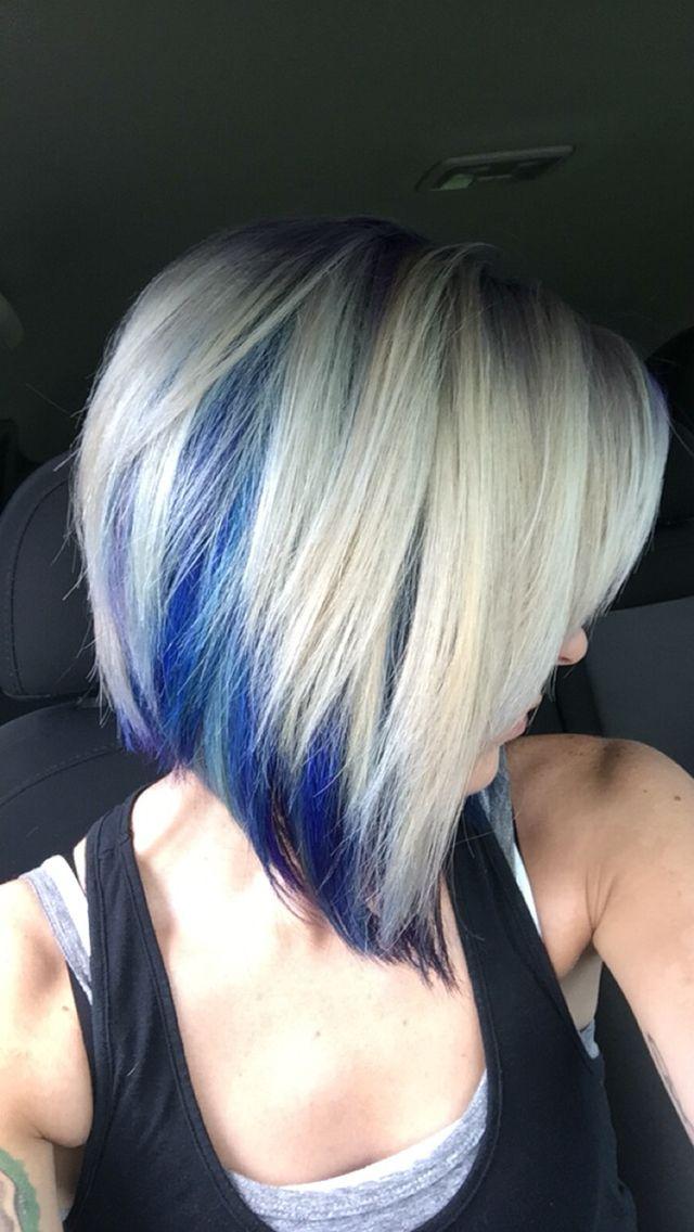 Blonde With Blue Purple And Teal Hair Blonde And Blue Hair Peekaboo Hair Teal Hair