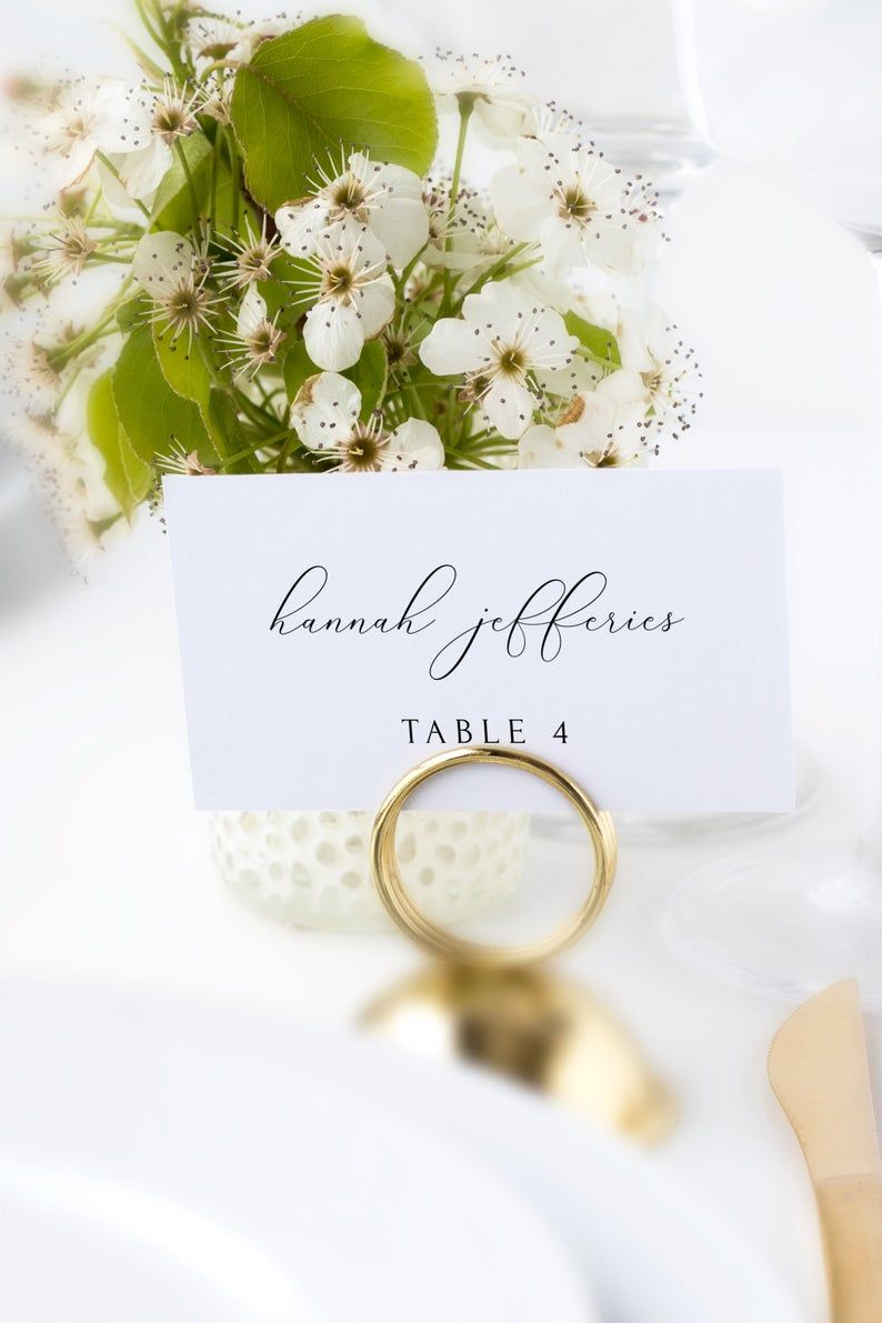 Asher Place Card Template Wedding Place Cards Script Place Etsy Printable Place Cards Wedding Wedding Place Card Templates Wedding Place Cards
