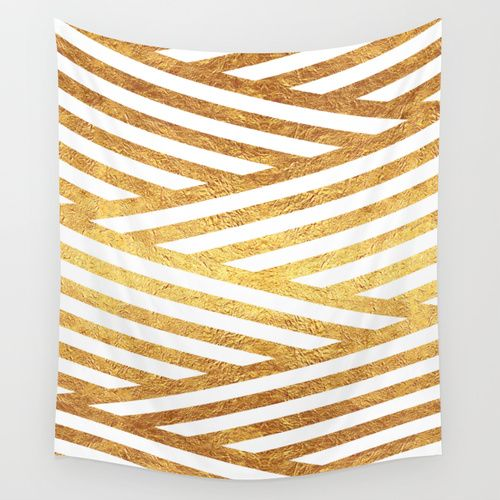 Gold Stripes Wall Tapestry