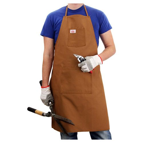 Our Round House Made in USA, brown, 100 percent cotton duck cloth Shop Aprons are full length, two pocket aprons.   Rugged and professional, these are premium heavy duty aprons made out of the strongest American Made duck fabrics available. The 12 oz. duck cloth helps repel the strongest elements while 100 percent cotton keeps them extremely comfortable.   Great for wood working, metal working, gardening or the barbecue pit, the Round House BR99 two pocket apron is a sure hit.