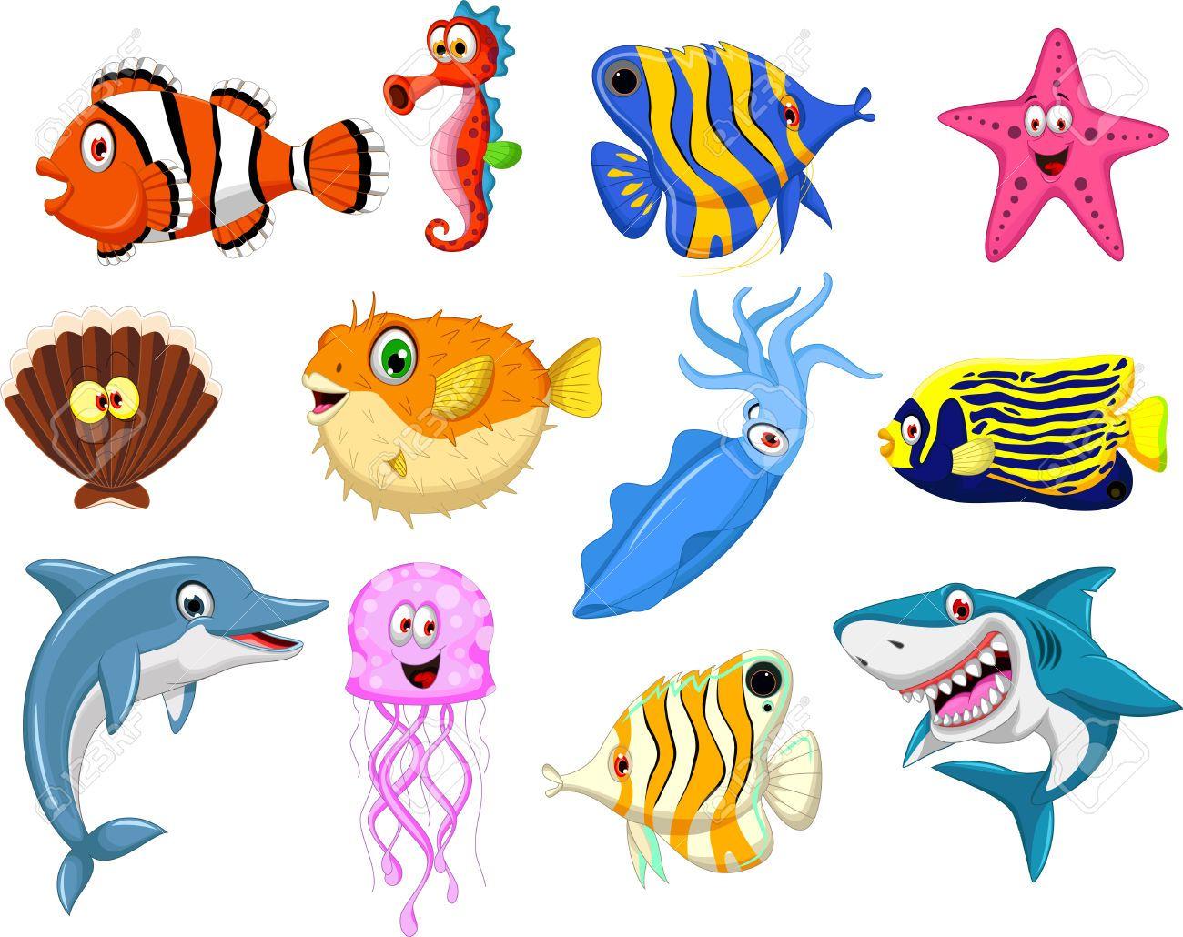 Colecci n de dibujos animados la vida marina - Clip art animali marini ...