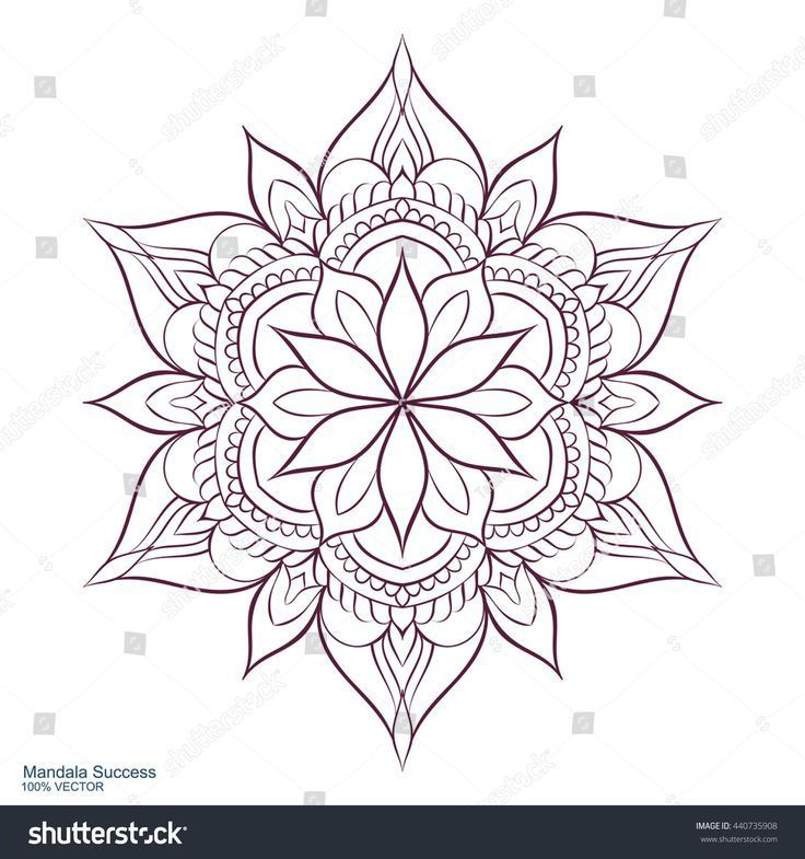 Mandala Success. Circular ornament on a white background. Handmade drawing. Arabic Oriental Indian d