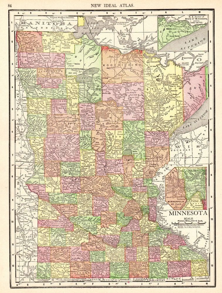 1913 Antique MINNESOTA Map Vintage Original Map of Minnesota State ...
