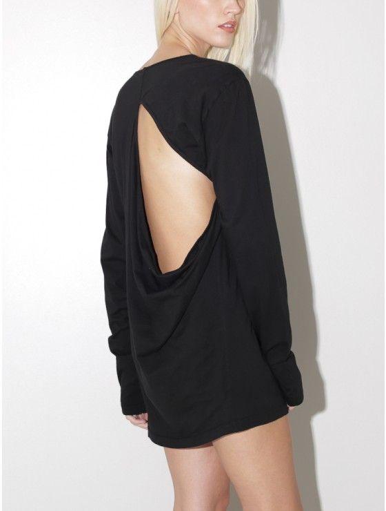 pleasure principle | open back l/s jersey top black | oaknyc