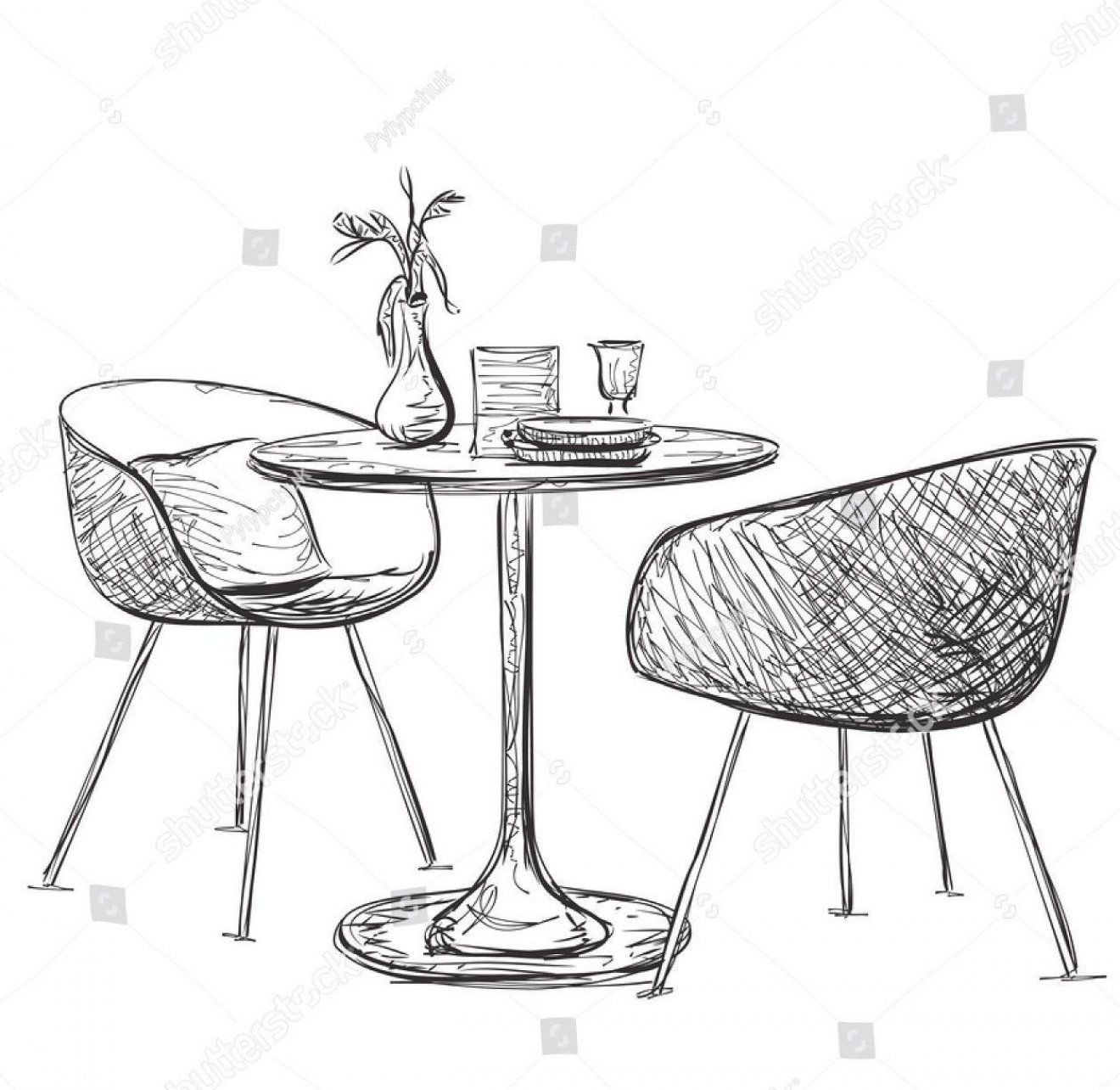 Sketch Of Modern Interior Table And Chairs Hand Drawn Furniture In 2020 Interior Design Sketches Furniture Design Sketches How To Draw Hands