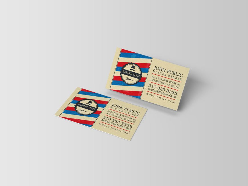 Vintage barber shop business card business cards card templates barber shop business cards with barber pole colors red blue and white ideal design wajeb Image collections