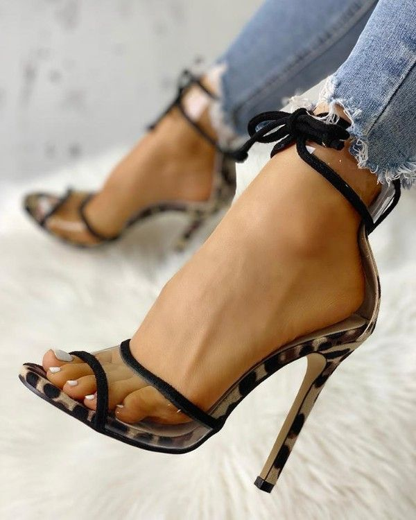 Contrast Binding Transparent Strap Heeled Sandals