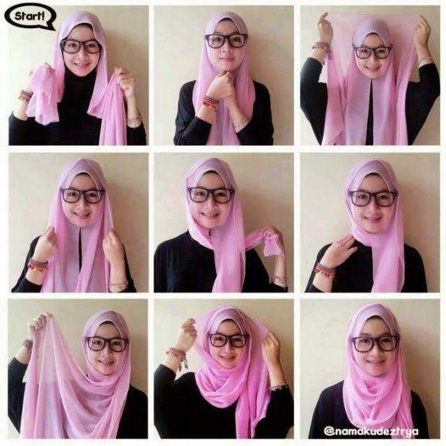 Contoh Cara Pemakaian Jilbab Segi Empat Kerudung Hijab Wanita