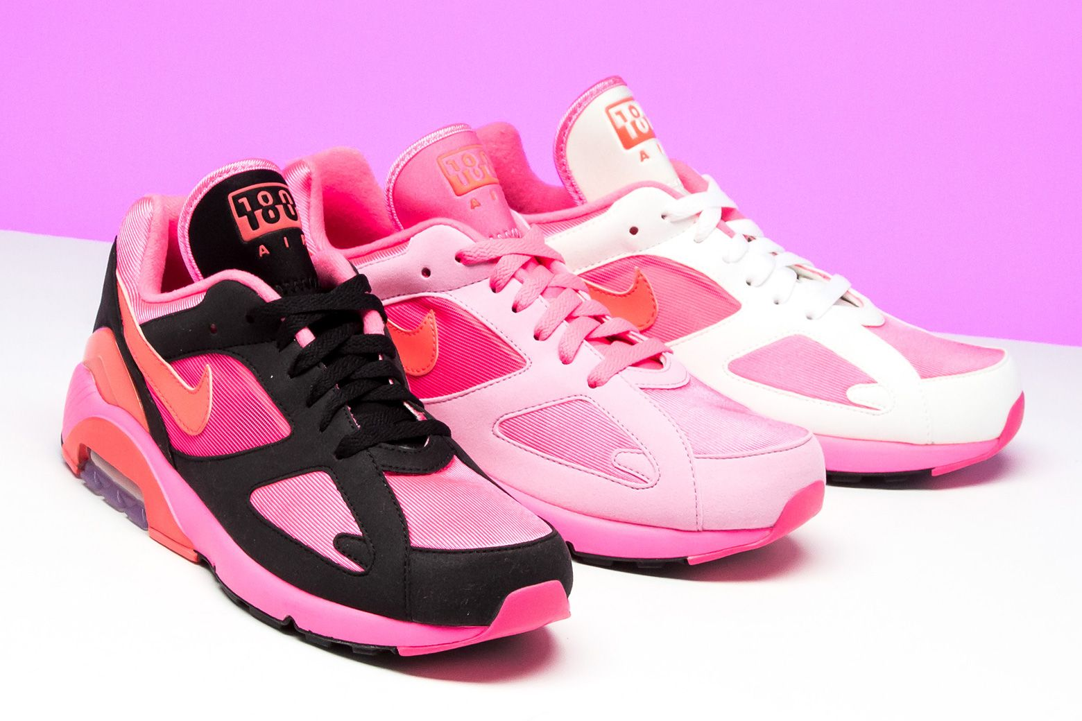 dfe1832c000a6f COMME des GARÇONS  Nike Air Max 180 gets a trio of vibrant Laser Pink  options
