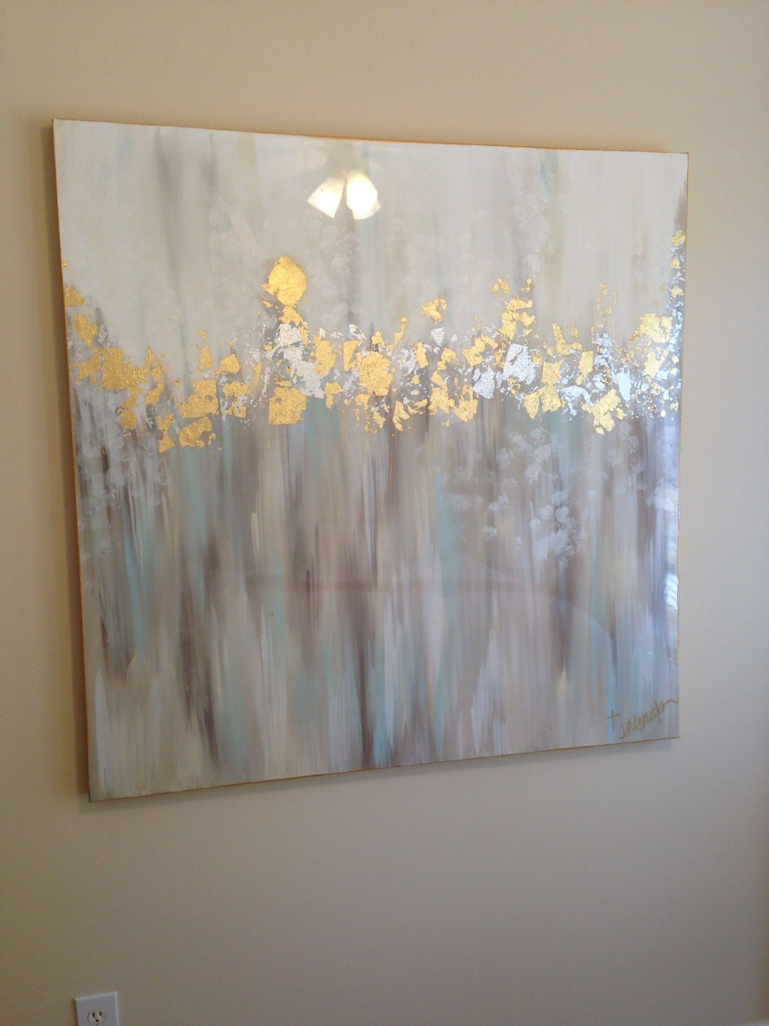 White gray blue gold and silver abstract art 48x48 by