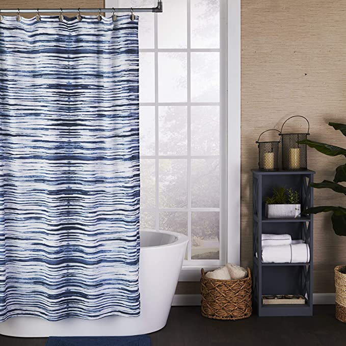 Amazon Com Skl Home By Saturday Knight Ltd Vern Yip Shibori Stripe Hand Towel Set Navy 2 In 2020 Striped Shower Curtains Fabric Shower Curtains Striped Hand Towels