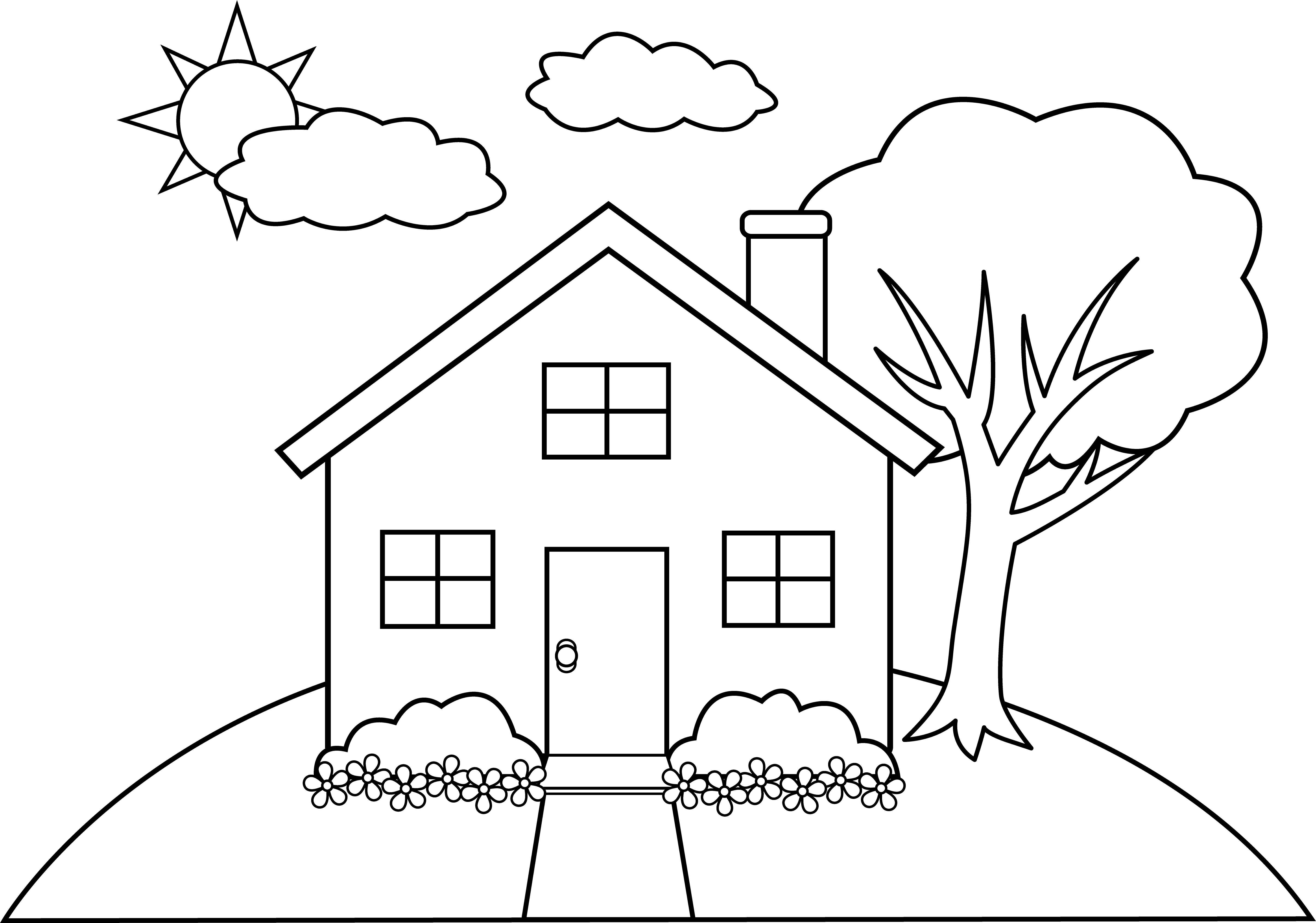 House Line Drawing Clip Art Sketch Coloring Page Coloring Pages House Colouring Pages Drawings