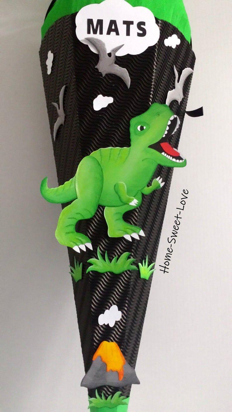 BASTELSET school bag dinosaur, motif & decoration finished crafted, name school bag boys,Dino