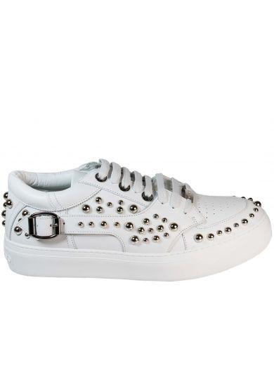 Jimmy choo Designer Shoes, Roman Leather Low Top Sneaker w/Studs