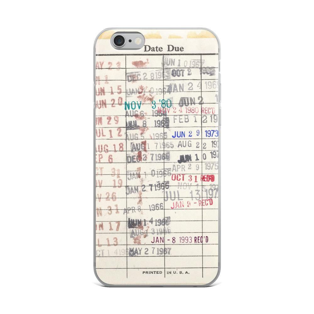 Library checkout due date card iphone case book lovers