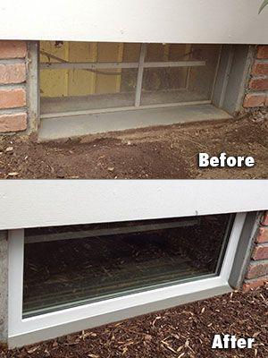 Everlast Basement Window Installation Before After Basement Window Replacement Waterproofing Basement Basement Windows