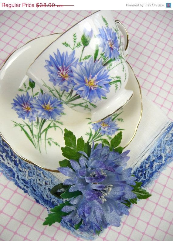 ON SALE Vintage Tea Cup & Saucer Blue Flower Hankie and Millinery Cornflower Brooch Corsage Pin Gift Set