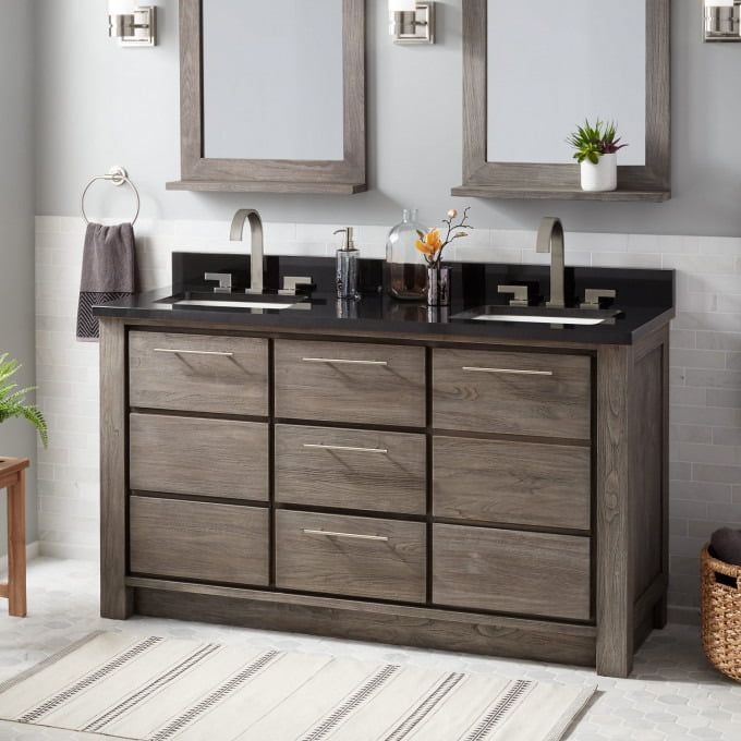 60 Venica Teak Double Vanity For Rectangular Undermount Sinks Gray Wash Bathroom Double Vanity Undermount Sinks Vanity