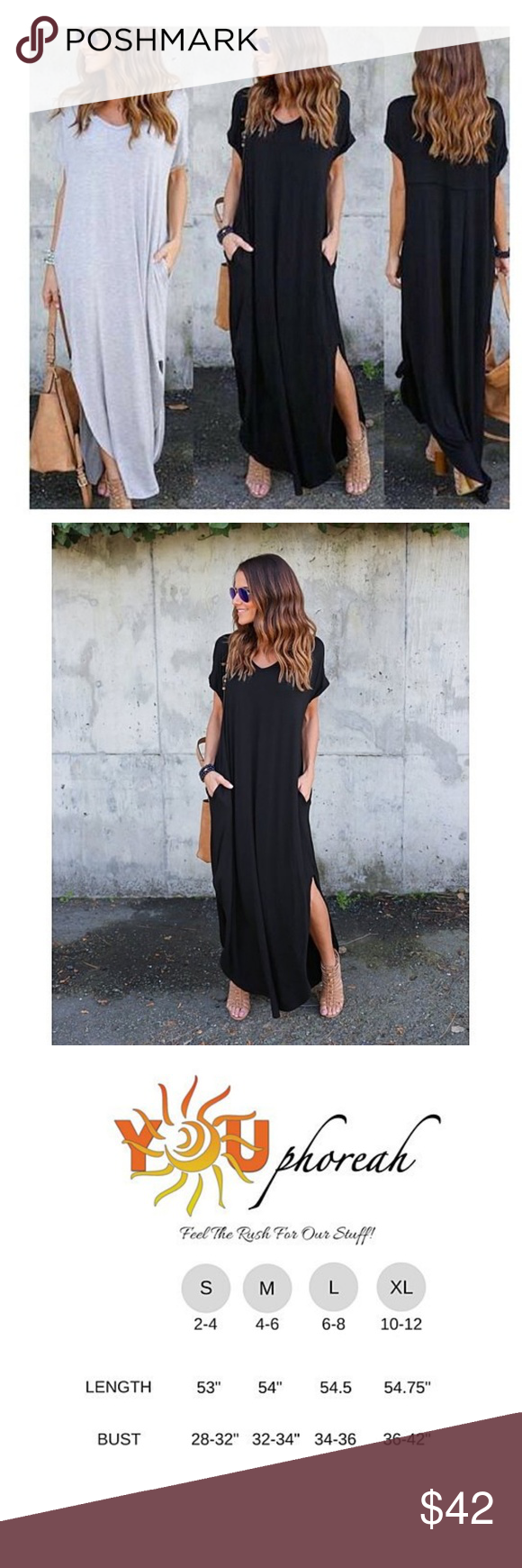 Black casual split pocket long maxi dress f poly and cotton