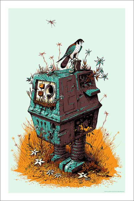 """This print by Jeff Soto makes me a little happy, then a little sad. That makes it art, I'm quite certain. Regardless, I feel sorry for GONK, or as Kenner called him, """"Power Droid"""", or as we called him, """"Box with Feet."""""""