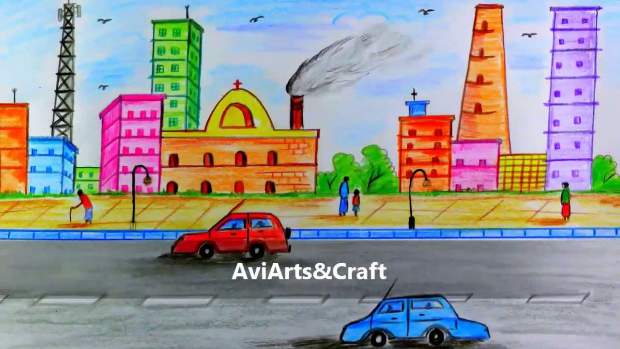 How To Draw City Scenery Step By Step Easy To Draw By Colored Pencil Easy Drawings Easy Scenery Drawing Pencil Drawings Easy