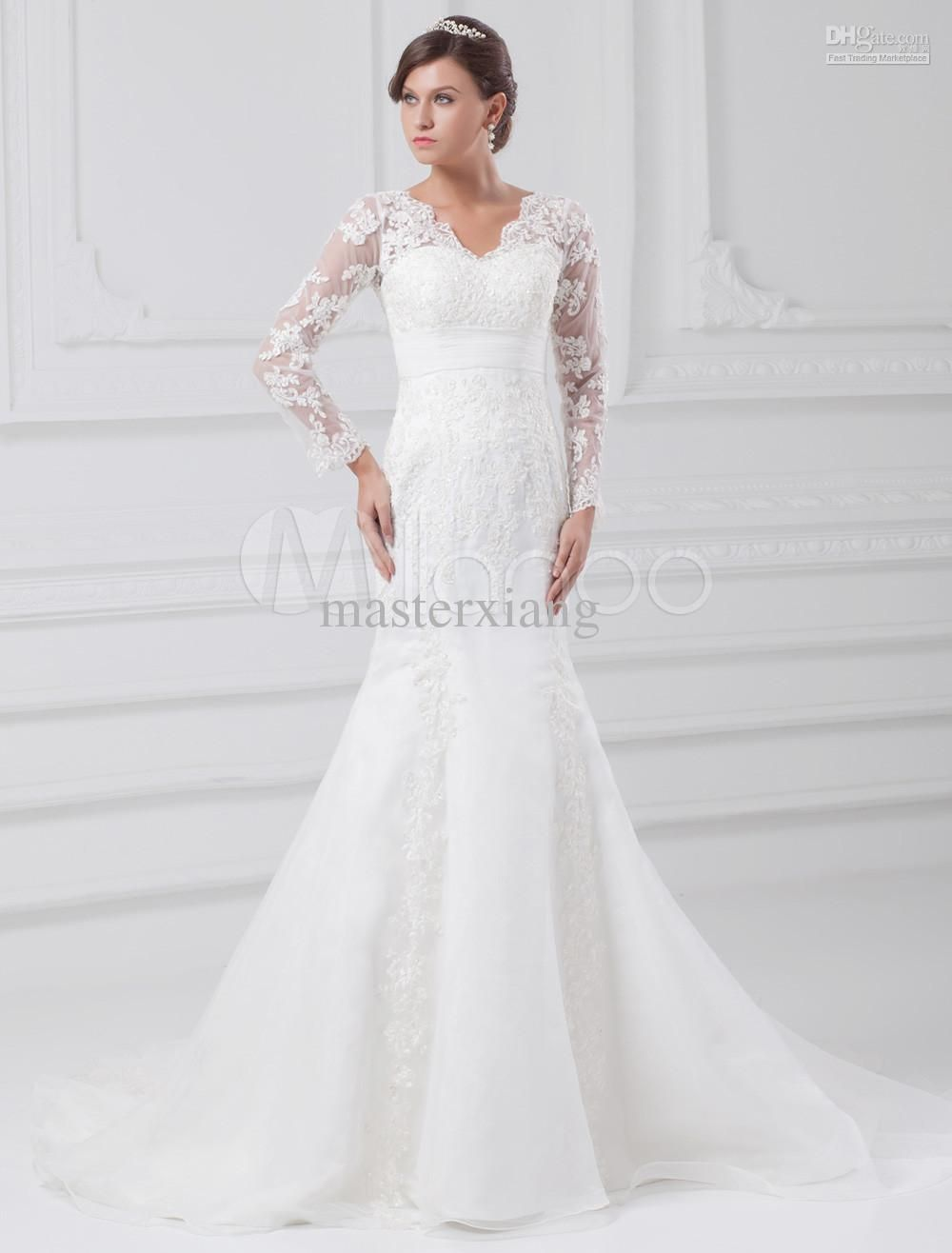 Wedding dresses v neck  Charming White Mermaid VNeck Lace long sleeve Floor length