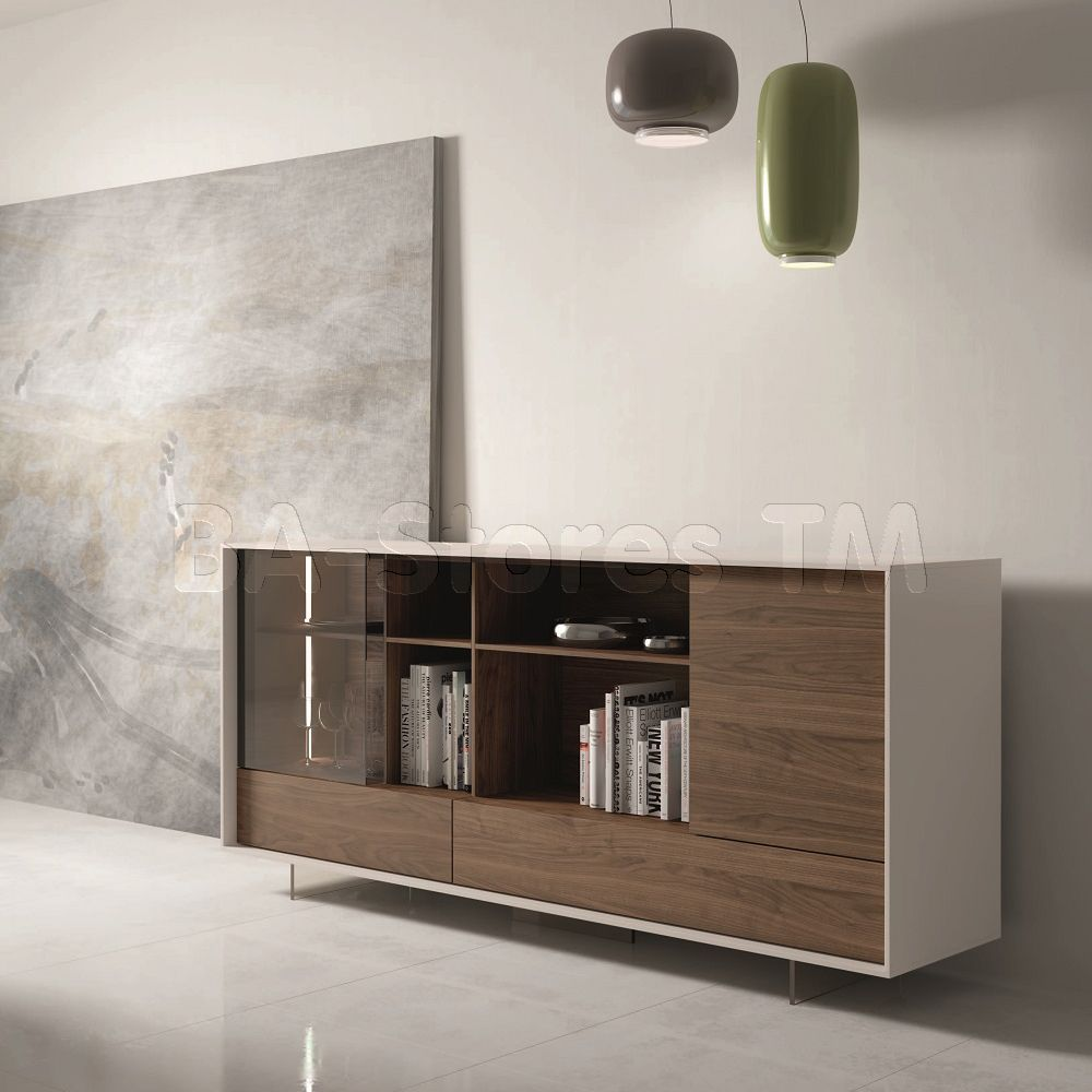 205 Modern Walnut Grey Lacquer Buffet With Led Lights