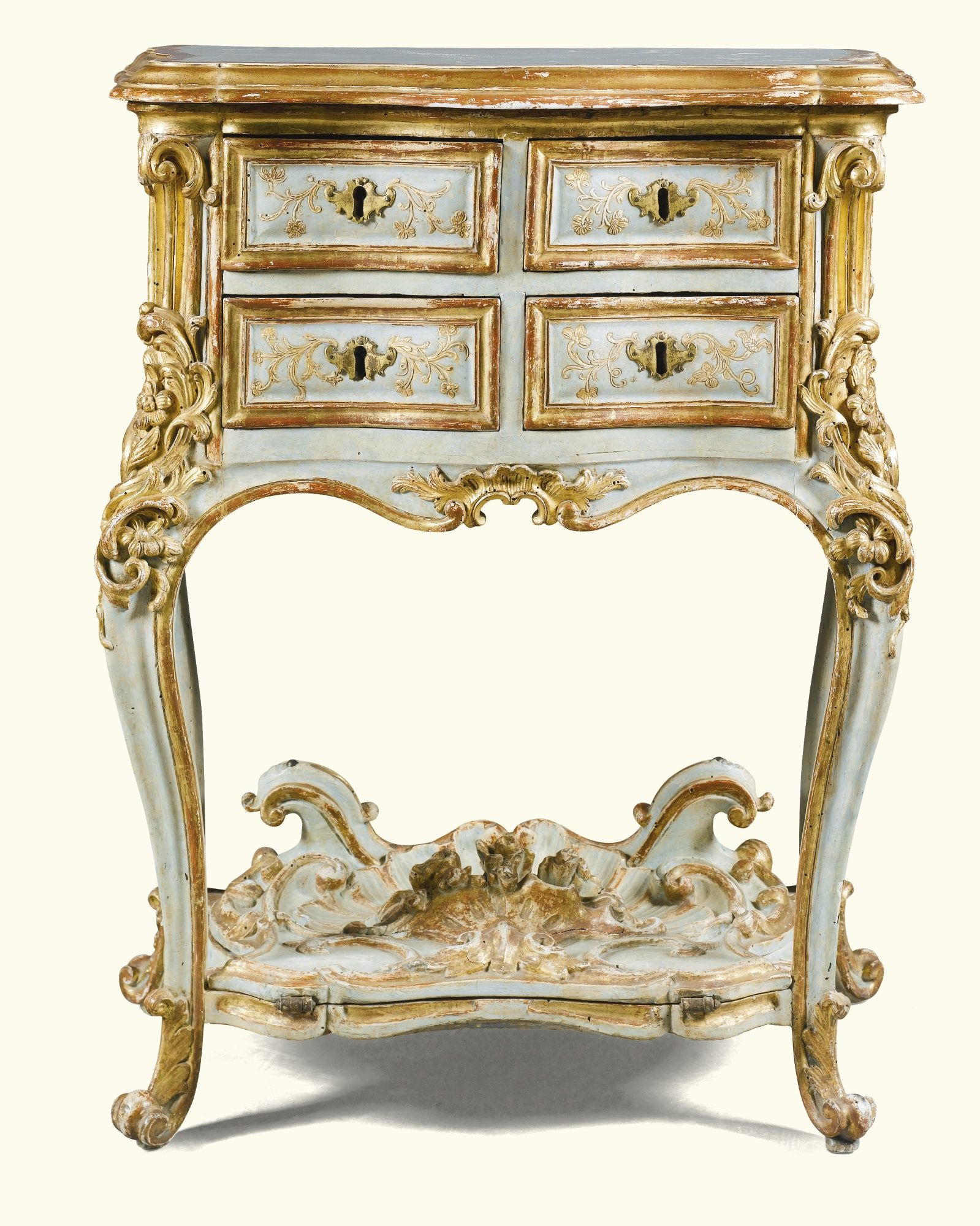 Muebles Estilo Barroco An Italian Pale Green Painted And Parcel Gilt Carved Small