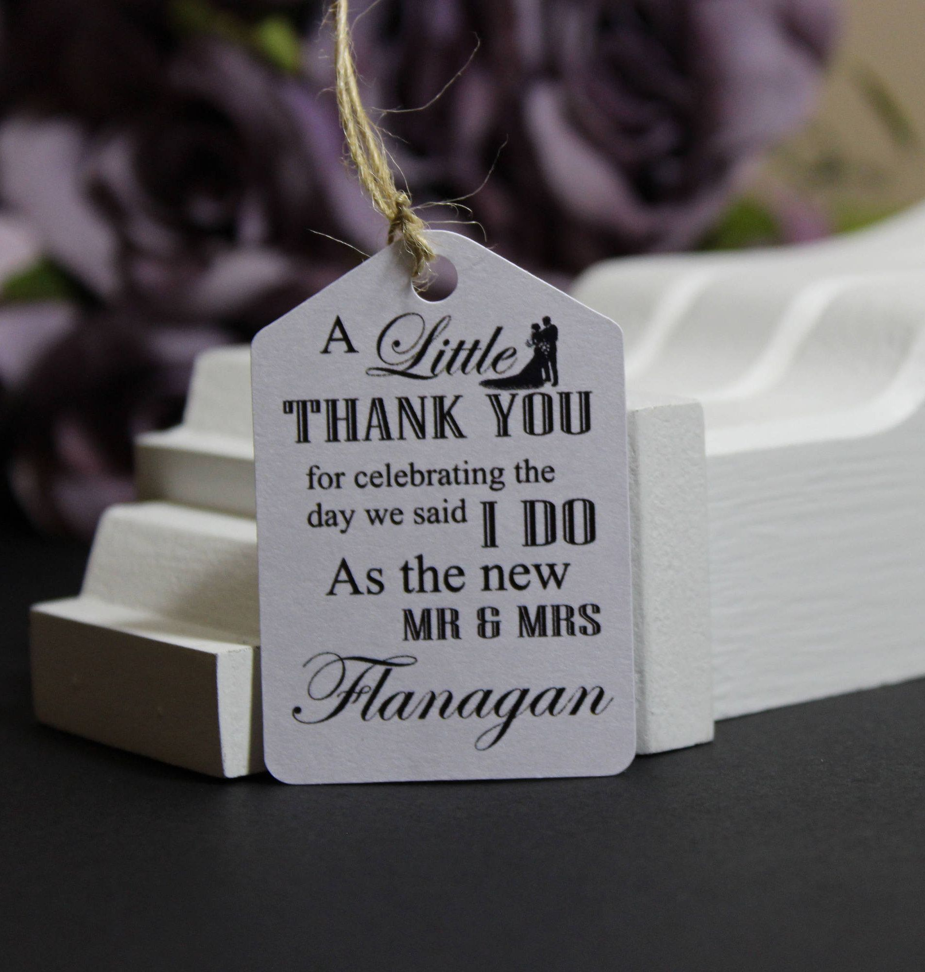 Personalised Handmade Wedding Thank You Gift Tags Wedding Favour